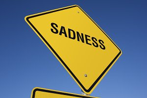 Sadness Yellow Road Sign