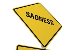 Yellow Sadness Road Sign Isolated