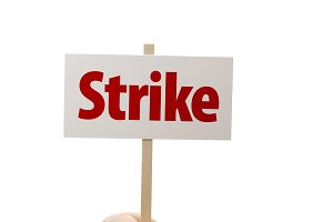 Strike Sign In Fist On White