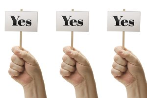 Three Signs Saying Yes, Yes, Yes