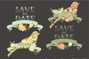 Romantic Banners Vector Set