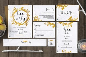 Golden Foliage Wedding Invitation