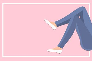 Slim Woman legs in jeans Vector