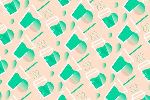 Healthy Drinks Vector Pattern