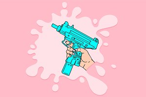 Woman Hand with Gun Vector