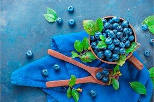 Summer berries flat lay. Blueberries