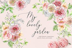 My lovely garden - watercolor & ink