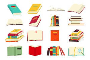 Icons of books vector set in a flat