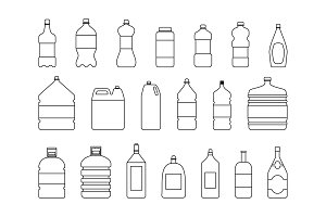 Plastic water bottle vector blank