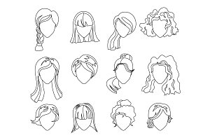 Hairstyle silhouette set. Woman