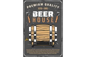 Beer brewery house, wooden barrel