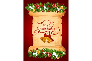 Christmas bell on old paper scroll