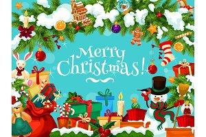 Christmas holiday Santa gifts vector