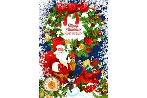 Santa, snowman and New Year gifts
