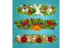 Christmas garland with Xmas bell