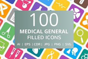 100 Medical General Filled Line Icon