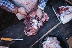 Pork meat cutting