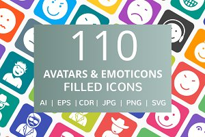 110 Avatars & Emoticons Filled Icons