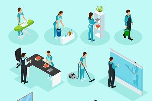 Isometric Cleaning Service Set
