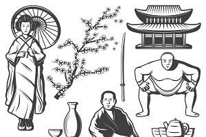 Vintage Japan Elements Set