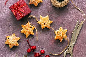 Christmas gifts, biscuits, snowflake