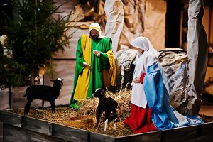 Very large christmas nativity crib.