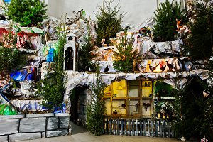 Very large christmas nativity crib