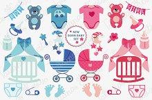 New born Baby boy, girl icons set