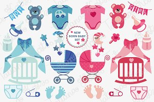New born Baby boy, girl icons set