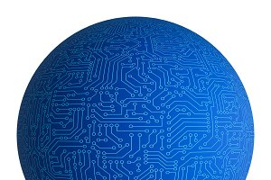 Blue circuit sphere isolated on whit