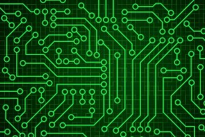 Green circuit board pattern texture.