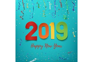 Happy New Year 2019. Colorful paper