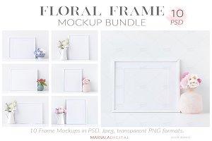 White & Floral Frame Mockup Bundle