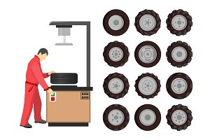 Tire Service Maintenance Vector