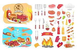 BBQ Party Poster Icons Set Vector