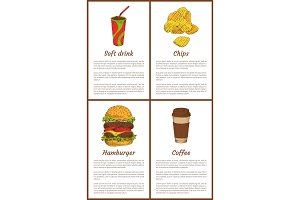 Soft Drink Chips Posters Set Vector