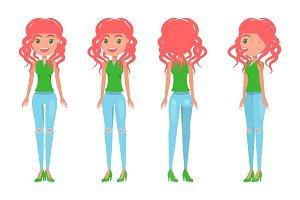 Redhead Girl in Feminine T-shirt and
