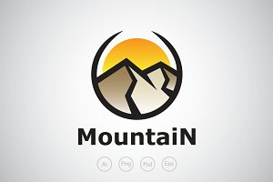 Mountain GLobe Logo Template