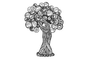 Tree with coins engraving vector