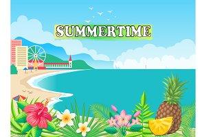 Summertime Poster Seashore Vector