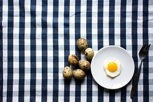 Serving fried quail egg
