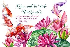 lotus and koi fish, watercolor