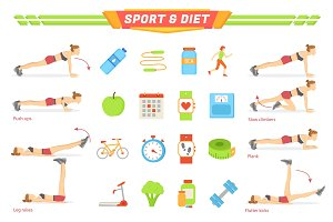 Sport and Diet Exercises Poster