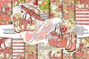 Fall Fashion digital paper pack