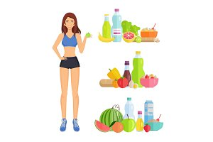 Weight Loss and Healthy Food Vector
