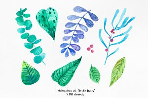 "Watercolor set of ""Nordic leaves"""