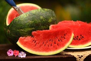 cut ripe big water melon still life
