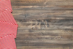 Wooden kitchen table background cheq
