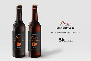 Amber Glass Beer Bottle Mockup 02
