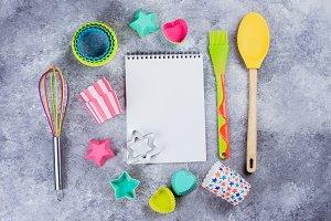 Kitchen utensils and Empty Book